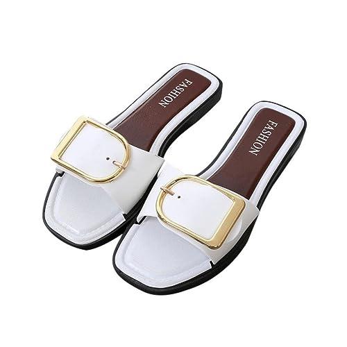 Chaussures Femmes Été, GongzhuMM Femmes Sandales Talon Plates avec Boucle  Carré Tongs Chaussures de Plage 3f5f7fb545bf