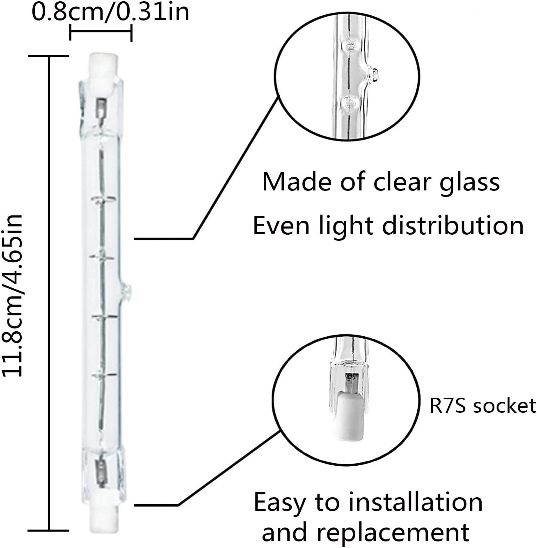 R7S Bombilla de luz Lineal Hal/ógena 500W 118mm Bombilla Hal/ógena Lineal Ketom 230V 5000LM L/ámpara Hal/ógena Lineal Blanco C/álido 2800K Tubo de Cristal R7S Paquete de 10