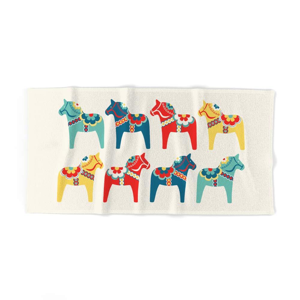 Society6 Bath Towel, 64'' x 32'', Swedish Horses by gabriellemcclure by Society6