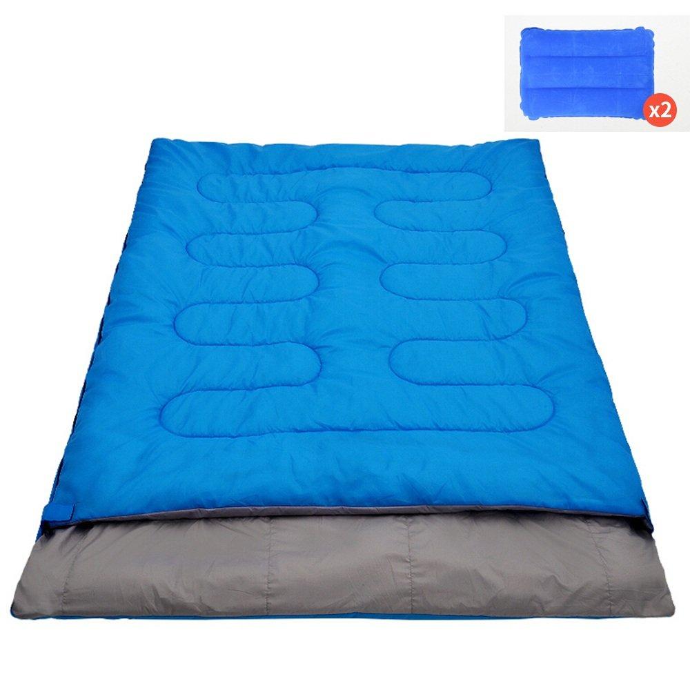 LJHA shuidai エンベロープ寝袋/2枕/ダブルラバーズ寝袋/屋外キャンプハイキングコットン長方形の寝袋(190 + 25)* 145センチメートル (色 : Blue, サイズ さいず : 2.4KG) B07FKLKMP6 2.4KG Blue Blue 2.4KG
