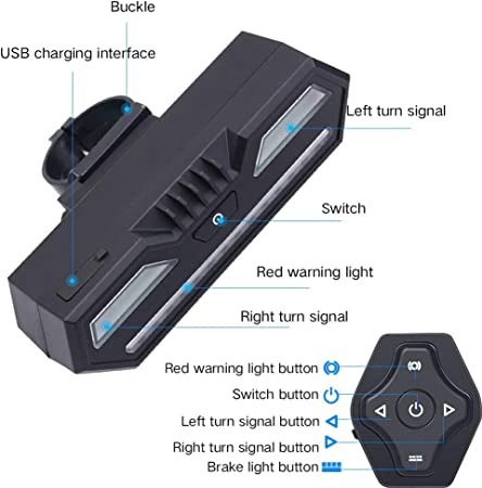 Luz Trasera de Bicicleta Inteligente, USB Recargable Intermitentes ...