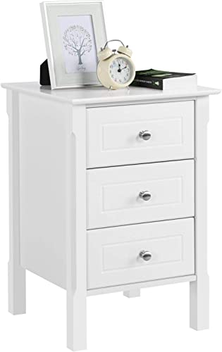 Topeakmart Wood Night Stand Accent Table 3 Drawer Storage Organizer with Solid Wood Legs Bedroom Side Storage, White