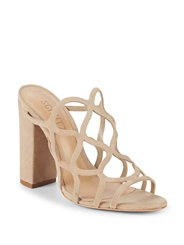 fcc0c59320 SCHUTZ Women's Nurten Natural New Goat Block Heel Suede Sandals Mule  Cut-Out (8