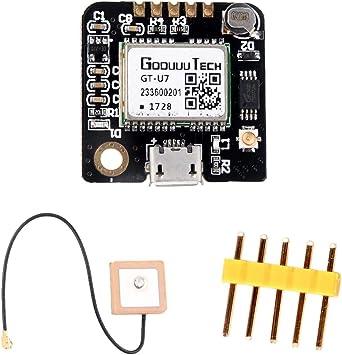 ZHITING GT-U7 Módulo GPS Receptor GPS Navegación Satélite con EEPROM Compatible con Microcontrolador 6M 51 STM32 UO R3 + IPEX Antena GPS Activa para ...