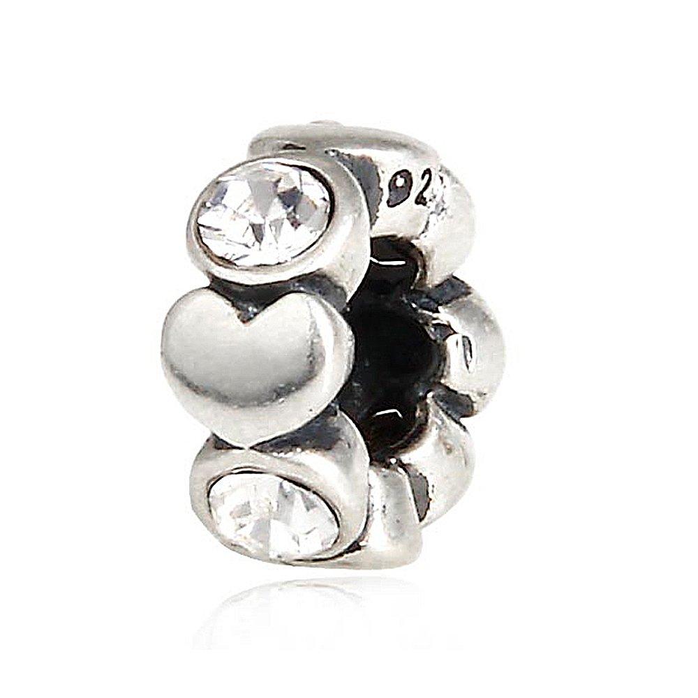 Everbling Dazzling Sweet Heart Dangle 925 Sterling Silver Bead Fits European Charm Bracelet