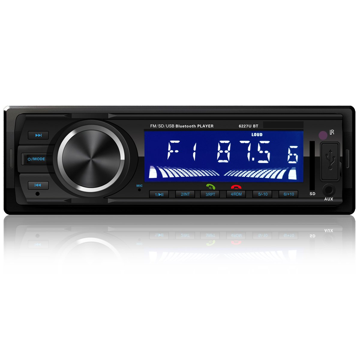 FORE FR-6227 Single Din Vehicle Bluetooth Digital Music MP3 Player Receiver with Wireless Remote Color Black