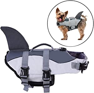 Zhongde Dog Life Jacket for Small Medium Large Dog, Adjustable Shark Floatation Pet Lifesaver Vest with Adjustable Soft Rubber Handle for Swimming and Boating