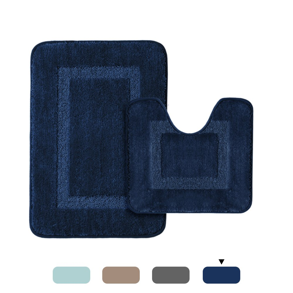 H.VERSAILTEX Upgraded 100% Microfiber Tufted Thick Super Soft Absorbent Tufted Bath Mats for Bathroom Anti Skid Bath Rugs Set, 2 Pack (20''x 32'' and 20'' x 18'' U Shape, Navy Rugs)