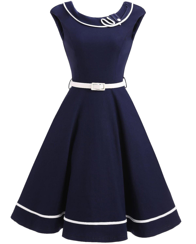 f7238e65f502 1940s Vintage Nautical Style Party Cocktail Dresses DIY Detachable Sailor  Collar, Back Zipper, Side Pockets, White Belt Included