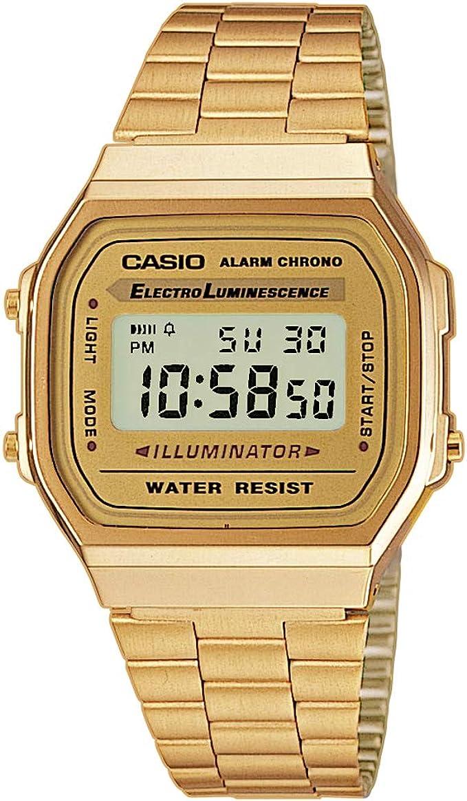 Amazon.com: Casio Vintage Retro Gold Digital Dial Stainless Steel Unisex  Watch A168WG9UR: Casio: Watches