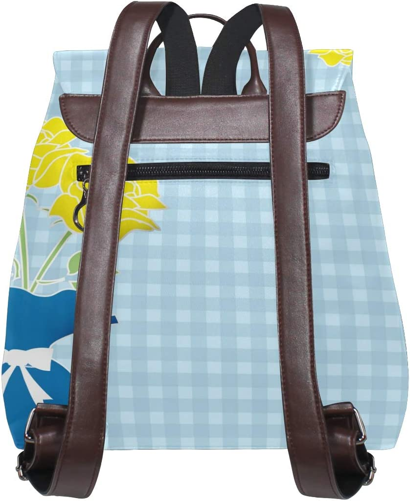 Backpack Travel Bag Storage Bag For Men Women Girls Boys Personalized Pattern Blue Bottle Yellow Flowers Shopping Bag School Bag