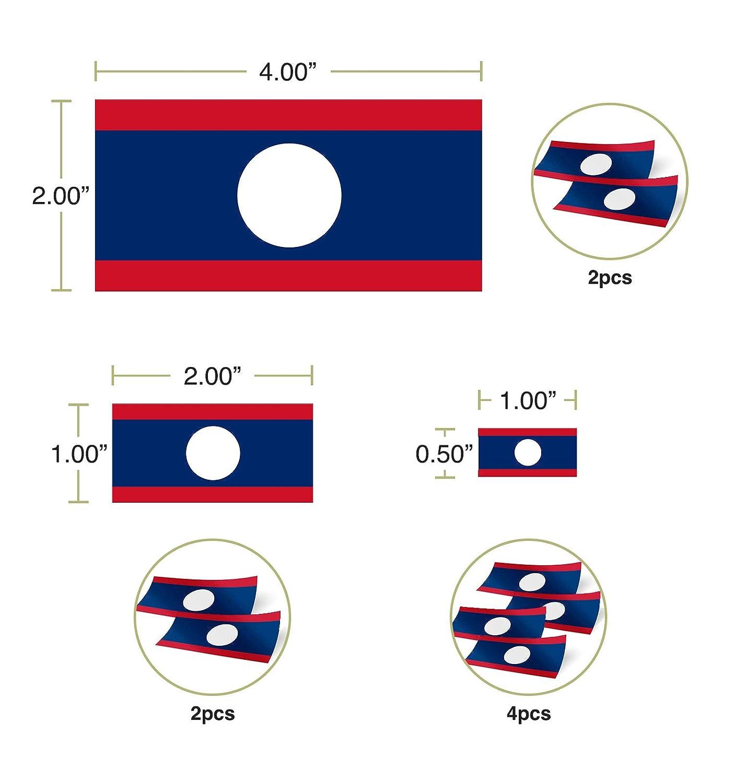 Desert Cactus Laos Country Flag Sticker Decal Variety Size Pack 8 Total Pieces Kids Logo Scrapbook Car Vinyl Window Bumper Laptop V