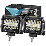 LED Pods, OFFROADTOWN 2pcs 4'' 120W LED Work Light OSRAM Off road Driving Lights Spot Flood COMBO Fog lights Waterproof LED Cubes for Truck Jeep Boat Pick Up UTV ATV Marine, 3 Years Warranty