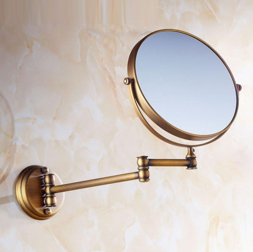 AGAOLIGUO Hotel Bathroom Antique Vanity Mirror Wall Mount Folding Telescopic Makeup Mirror Creative Double Sided 360 Degree Rotating Beauty Mirror,bronze_8inch