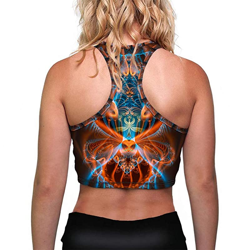 rave outfit fractal clothing Burning man clothing fractal hoodie top festival set festival cropped top for women Rave Hooded Crop Top