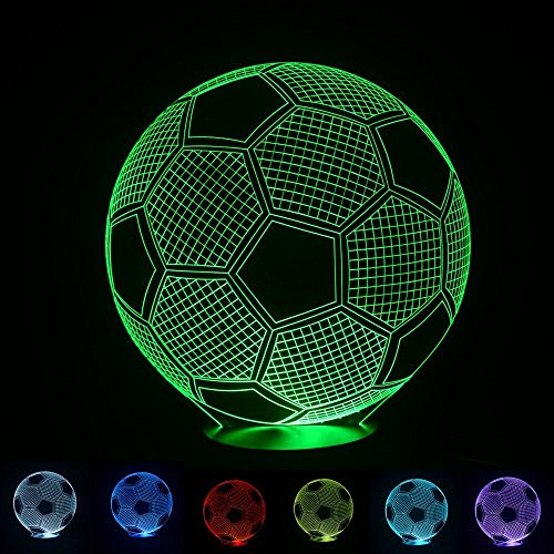 3D optical illusion lamp Sport football Soccer Bedroom decorative night 7 color change USB Touch button LED desk table light lamp by Generic