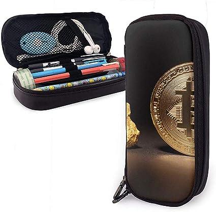 Estuche para lápices Precio de Bitcoin Gold Crypto PU Bolsas de cuero Bolsas de almacenamiento Bolsa de lápices portátil Carteras con cremallera: Amazon.es: Oficina y papelería