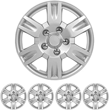 """Dual Spokes 4 Pack BDK Wheel Guards Hubcaps for Car Accessories Wheel Covers Snap Clip-On Auto Tire Rim Replacement for 16 inch Wheels 16/"""" Hub Caps"""