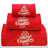 Xmas Set of 3 embroidered red bath towels – Ref. Merry Christmas