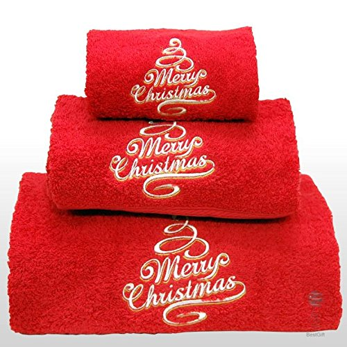 - BgEurope Xmas Set of 3 Embroidered red Bath Towels - Ref. Merry Christmas