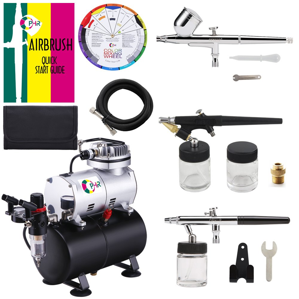 OPHIR 3-Airbrushes Dual Action & Single Action 110V Airbrush Hobby Air Brush Compressor Kit with Tank for Models Tattoo Cake with Airbrushing Manual AC090+AC004A+AC071+AC072