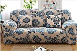 YJBear 1 PC European Blue Bohemian Ethnic Flower Pattern Polyester Spandex Furniture Cover Slip Resistant Strapless Stretch Chair Loveseat Sofa Protector Shield 74.8''-90.55''(Sofa)