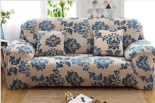 YJBear 1 PC European Blue Bohemian Ethnic Flower Pattern Polyester Spandex Furniture Cover Slip Resistant Strapless Stretch Chair Loveseat Sofa Protector Shield 74.8''-90.55''(Sofa)