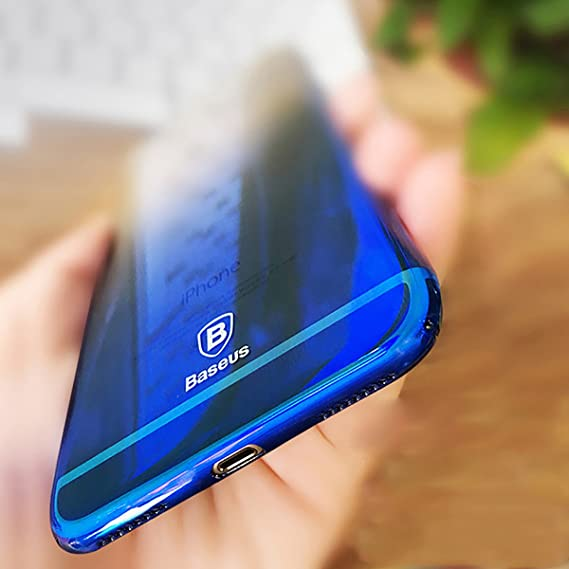 best sneakers 23eb1 66837 Cute iPhone X Case, Baseus Phone Case for iPhone X 10 Gradient Color Ultra  Thin Slim PC Hard Back Cover Case for iPhoneX Shell (Blue)