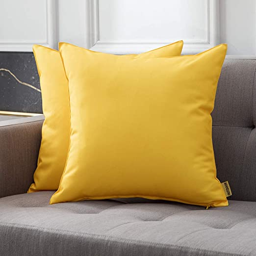 MIULEE Pack of 2 Decorative Outdoor Waterproof Pillow Cover Square Garden Cushion Case PU Coating Throw Pillow Cover Shell for Tent Park Couch 18x18 Inch Yellow