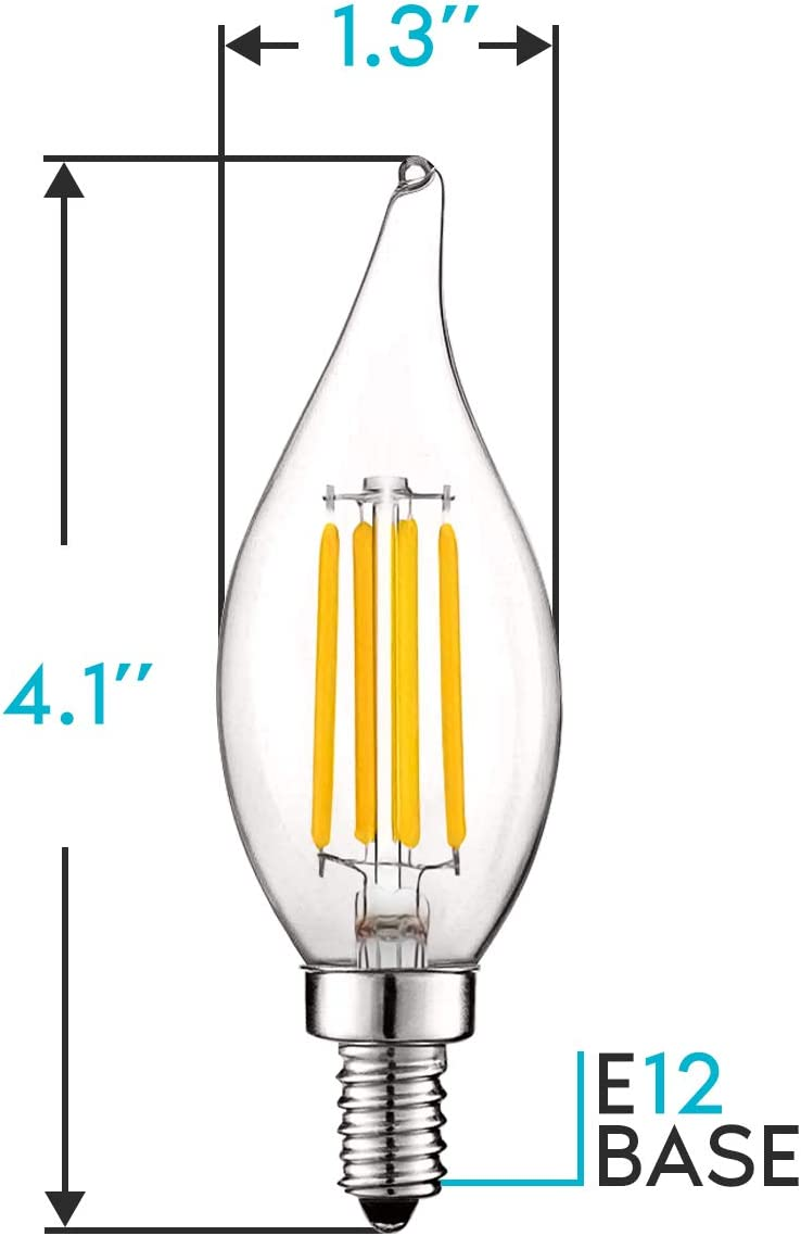 3000K Soft White Flame Tip Clear Glass 12 Pack E12 Base Filament LED Candle Bulbs Luxrite Vintage Candelabra LED Bulb 60W Equivalent LED Chandelier Light Bulbs 5W 550 Lumens Dimmable
