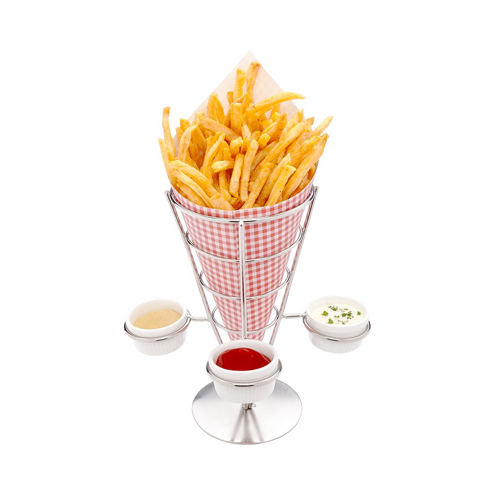 Singolo Small Fry and Appetizer Cone Display with Triple Sauce Holders: Perfect for Parties and Catering Events – Stainless Steel – 1-CT – Restaurantware