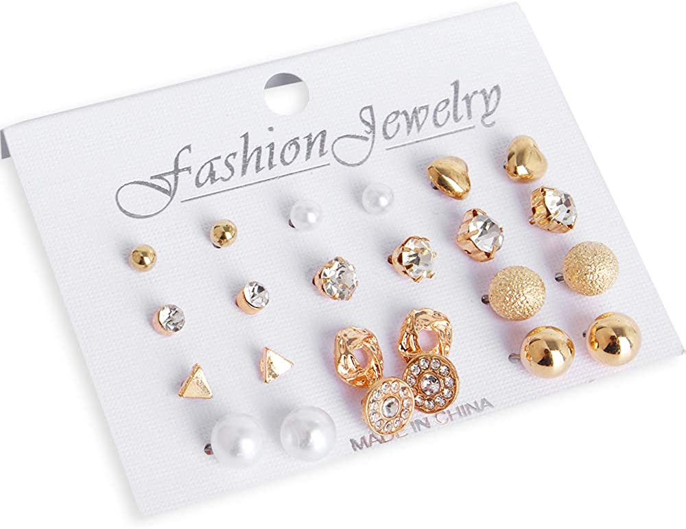 Hicdaw 37Pairs Assorted Multiple Stud Earrings Set for Women Hoop Earring Set Gifts for Women Girls