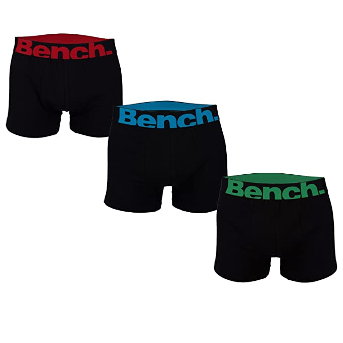 Bench Mens 3 Pack Brief Boxer Shorts Black Elasticated Waistband Same Style