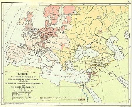 Europe Anglican Church Bishop London Palestine 1897 Map Amazon