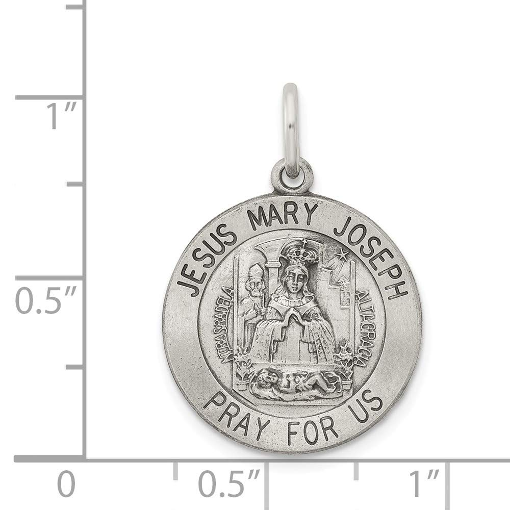 15mm x 20mm Solid 925 Sterling Silver Antiqued-Style Holy Family Medal