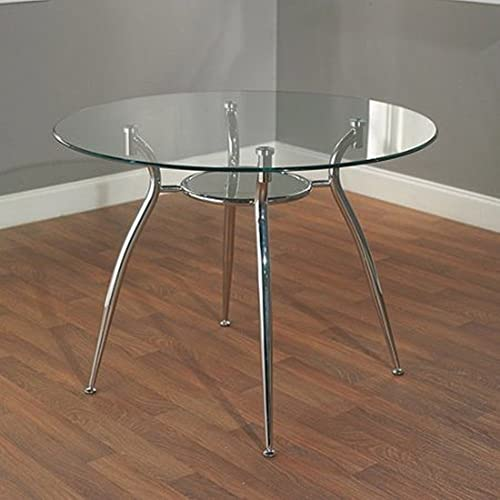 Simple Living Modern Tempered Glass and Chrome Small Round Dining Room or Kitchen Table