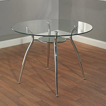 987368ab835e4 Amazon.com - Simple Living Modern Tempered Glass and Chrome Small Round  Dining Room or Kitchen Table for 4 - Tables