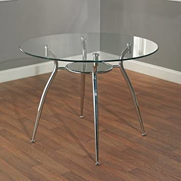 simple living modern tempered glass and chrome small round dining room or kitchen table for 4 - Chrome Kitchen Table