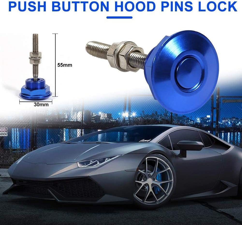 Sparkle-um 1 Pair Universal Quick Release Latch Push Button Low Profile Hood Pins Lock Car Lock Clip Kit 1.25 Quick Latch for Hood Bumper or DIY Blue