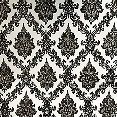 Vintage Black Silver Floral Damask Wallpaper Adhesive Vinyl Peel Stick Dresser Drawer Contact Paper Sticker Sheet Roll 17.7inch by 100inch