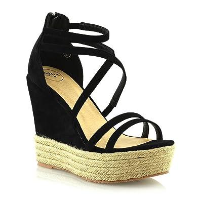 9f474caa77b1 ESSEX GLAM Womens Espadrille Shoes Ladies Strappy Platform Wedge Heel  Sandals (10 B(M