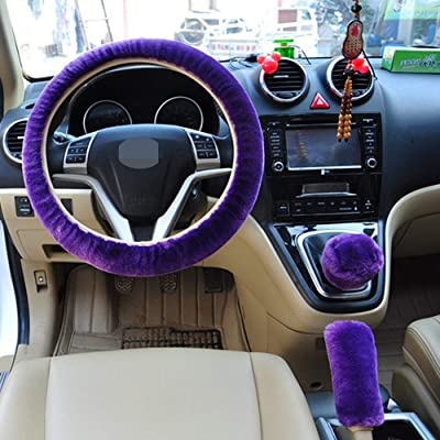 Cdycam Non-slip Car Decoration Steering Wheel Handbrake Gear Shift Cover Plush New (Purple): Automotive