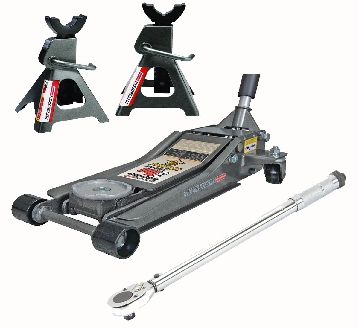 3 Ton Floor Jack Rapid Pump with Jack Stands and Torque Wrench Heavy Duty Set by Pittsburgh