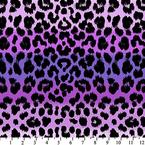Leopard Print Ombre Anti-Pill Fleece Fabric By The Yard (Purple)
