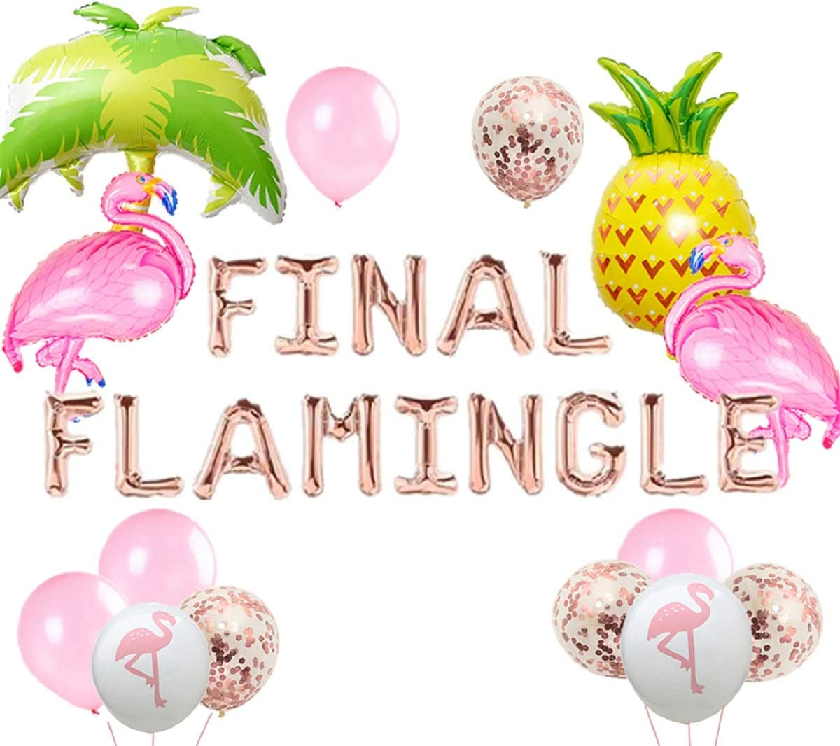JeVenis Set of 20 Rose Gold Final Flamingle Balloons Flamingo Bach Balloons Flamingo Bachelorette Party Decor Flamingo Bach Balloon Banner Flamingle Bach Decorations
