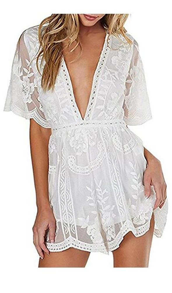 Wicky LS Women's Sexy Short Sleeve Long Dress Low V-Neck Lace Romper White-Short Style L