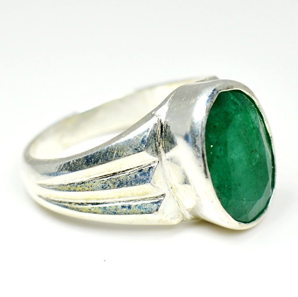 Jewelryonclick Natural 4.5 Carat Emerald Silver Rings for Women Mark Design with Bezel Style in Size 4-13