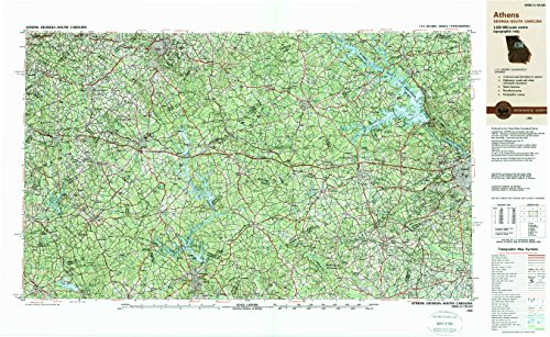 - Athens GA topo map, 1:250000 scale, 1 X 2 Degree, Historical, 1988, updated 1988, 22.1 x 36.1 IN - Paper
