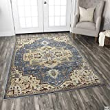 Rizzy Home Bennington Collection Loomed Double Pointed Designs Area Rug, 6'7''x9'6'', Black/Ivory/Brown