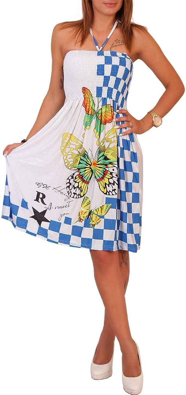 Strand Sommer Bandeau Kleid Karo Schmetterling Damen Strandkleid